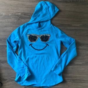 5/$25! Justice pullover hoodie sequined sunglasses